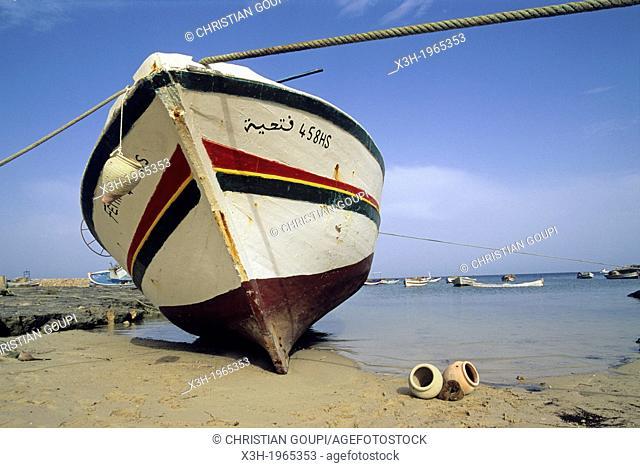fishing boat at the harbor of Ajim, Djerba island, Tunisia, North Africa
