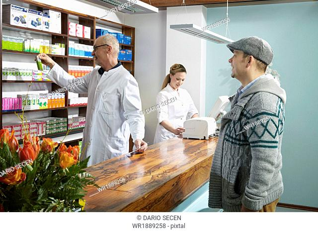 Customer In Drugstore, Munich, Bavaria, Germany