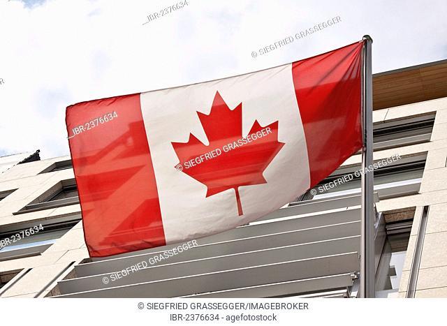 National flag, Canadian Embassy, Berlin, Germany, Europe