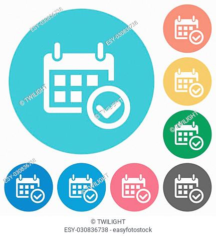 Flat calendar check icon set on round color background