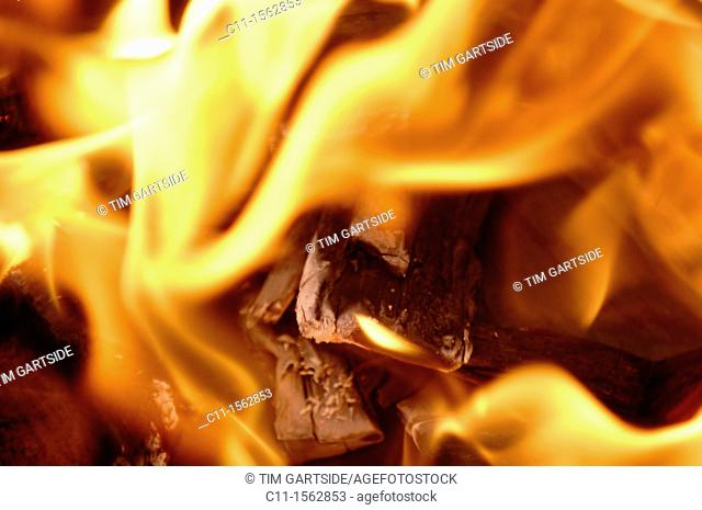 Abstract flames against black background