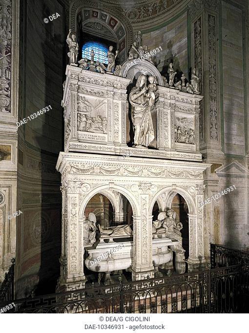 Gian Galeazzo Visconti's (1347-1402), work by Gian Cristoforo Romano at the bottom and Benedict Briosco and School of Della Porta at the top