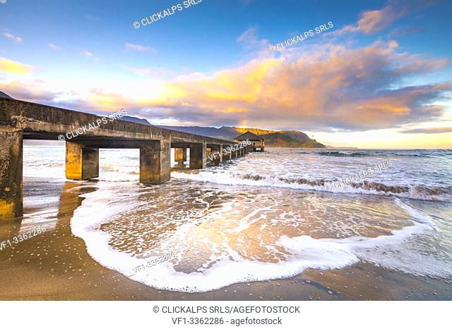 Hanalei Pier, Northern shore of Kauai island, Hawaii, USA