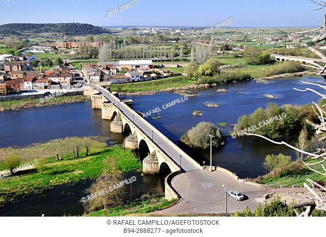 Old stone bridge in town. Ciudad Rodrigo. Salamanca province. Spain
