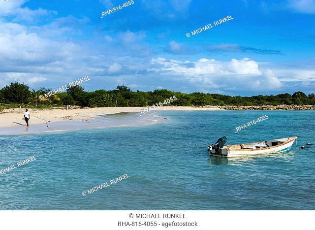 White sand in the Gravenor bay in Barbuda, Antigua and Barbuda, West Indies, Caribbean, Central America