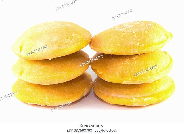 Palm sugar on white background