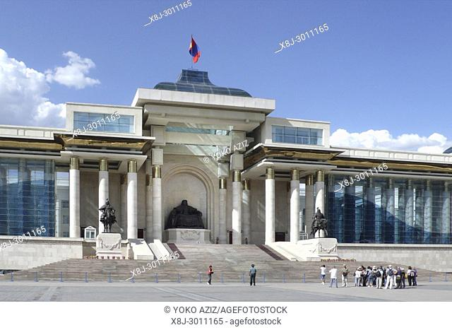 Parliament building and Government House , Sukhbaatar square, Ulaan Baatar, Mongolia