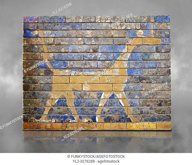 Coloured glazed brick panels depicting the mythical composite animal has the head and the body of a snake, the front legs of a lion