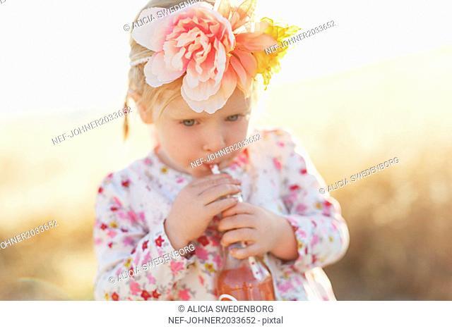 Girl with flower headband