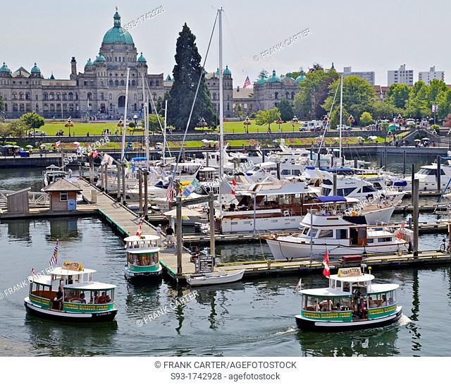 The Victoria inner harbour showing the provincial parliament buildings in the background