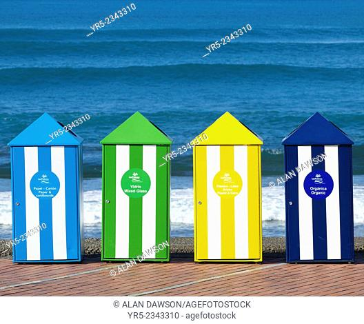 Recycling containers at surfing beach, La Cicer, Playa de Las Canteras, Las Palmas, Gran Canaria, Canary Islands, Spain