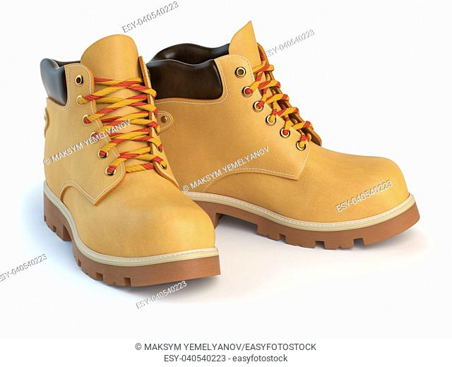 Yellow man's boots isolated on white background. 3d illustration
