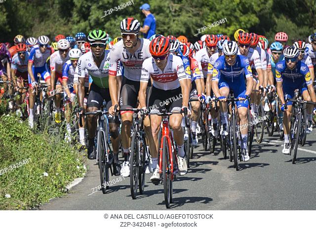 """Asturias Spain on SEPTEMBER 7, 2019: Group of cyclists climbing in """"""""La Vuelta"""""""" 2019"""
