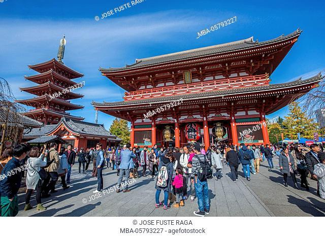 Japan, Tokyo City, Asakusa District, Sensoji Temple, Hozomon Gate (Niomon Gate)