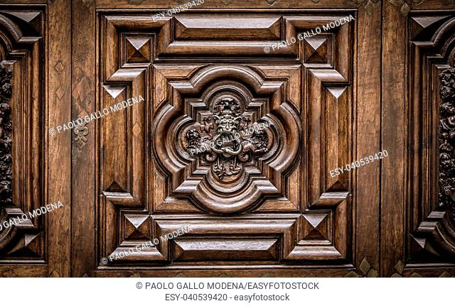 Detail of the Devil Door in Turin, Italy. Located in Via Vittorio Alfieri, dated around 1850. The legend says that this door was not there the evening before...