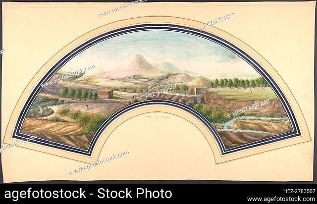 Fan Design with Mount Vesuvius, 19th century. Creator: Unknown