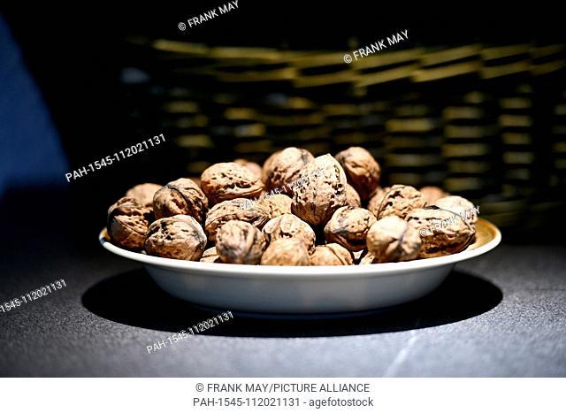 Walnuts in a bowl, Germany, city of Frankfurt, 20. November 2018. Photo: Frank May | usage worldwide. - Frankfurt am Main/Hessen/Germany