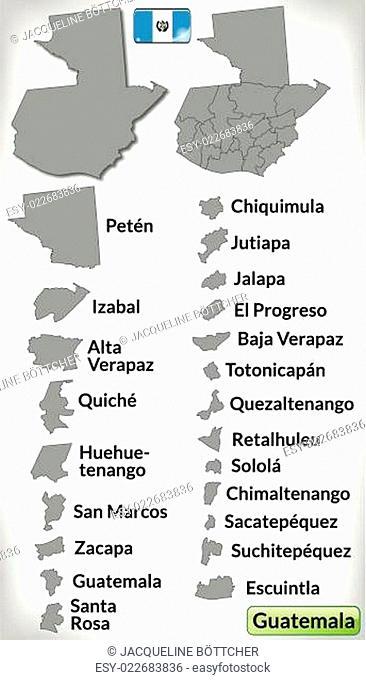 Karte von Guatemala mit Grenzen in Grau