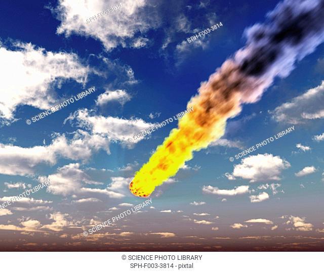 Meteorite in Earth's atmosphere. Computer artwork of a meteor burning up in Earth's atmosphere