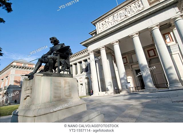 One of the main promenade entrances to the Prado is dominated by this bronze statue of Diego Vel·zquez   The Museo del Prado is a museum and art gallery located...