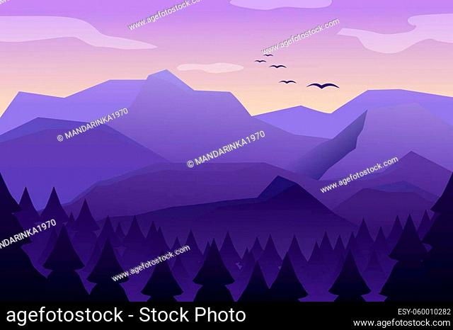 Mountain landscape with high peaks and mountain. Morning landscape, sunrise in the mountains, panoramic view with hill and forest. Vector illustration