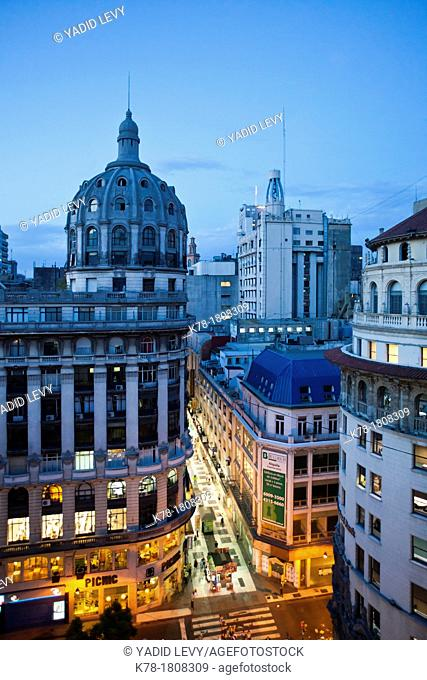 View over Calle Florida and 19th century buildings, Buenos Aires, Argentina