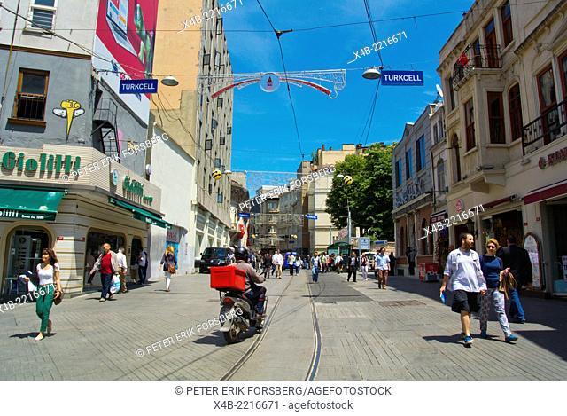 Istiklal caddesi the Independence street, Beyoglu, central Istanbul, Turkey, Eurasia