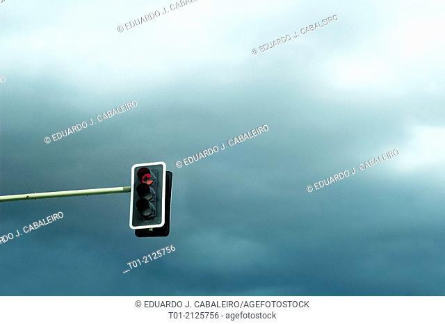 semaphore on a cloudy sky