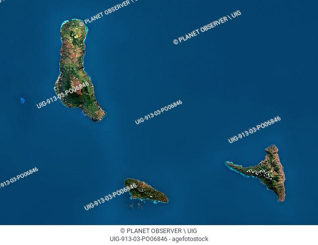 Satellite view of the Comoros Archipelago. This image was compiled from data acquired by Landsat satellites