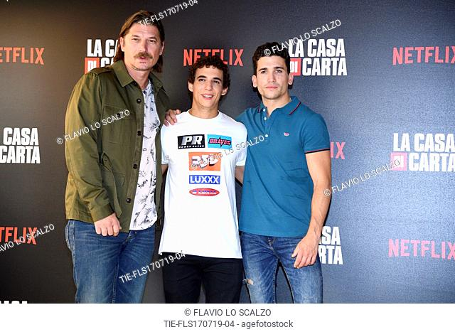 Luka Peros, Miguel Herran, Jaime Lorente during photocall for the presentation of Spanish TV show 'La Casa de Papel' in Milan, Italy, 17 July 2019