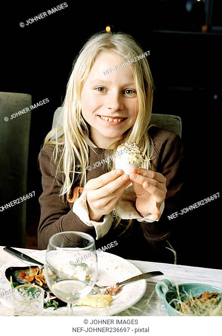 Girl at the dinner table