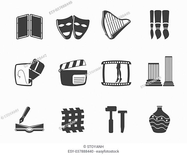 Silhouette different kind of Arts Icons - Vector Icon Set