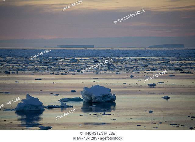 Ice floe in midnight light, Southern Ocean, Antarctic, Polar Regions