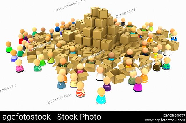 Crowd of small symbolic 3d figures, with cardboard boxes, over white