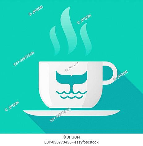 Illustration of a long shadow cup of coffee with a whale tail