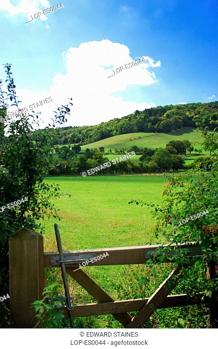England, Buckinghamshire, Fingest, View across gate and fields at Fingest. The name Fingest comes from the Anglo Saxon name Thinghurst meaning 'wooded hill...