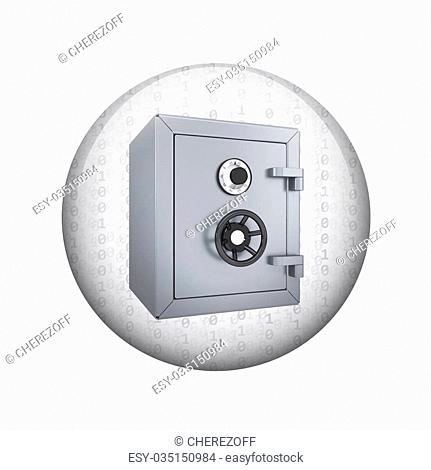 Safe box. Spherical glossy button. Web element