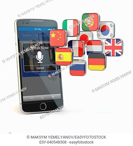 Mobile dictionary or translator concept . Learning languages online. E-learning. Smartphone with flags isolated on white. 3d illustration