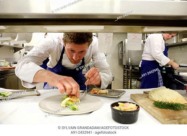 France, Haute-Savoie, Megeve in winter, Chalet Zannier luxury Hotel, restaurant La Ferme de mon Pere, Chef David Castillo, executive chef Burlat