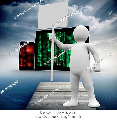 Composite image of white character holding placard