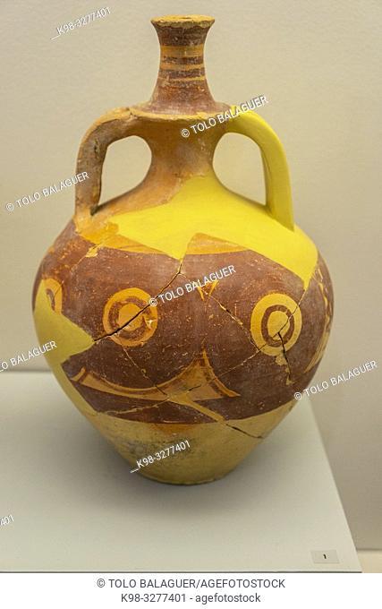 ceramica pintada de tradicion celtiberica, Museo-Centro de Interpretación del parque arqueológico de Segóbriga, Saelices, Cuenca, Castilla-La Mancha, Spain