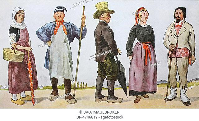 Fashion, historical clothes, folk costumes in France, around the 19th century, illustration, France