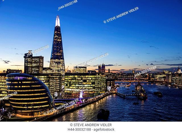 England, London, Southwark, London Bridge City, View from Tower Bridge
