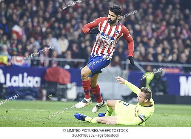 Arthur (midfielder; Barcelona), Diego Costa (forward; Atletico Madrid) before La Liga match between Atletico de Madrid and F.C
