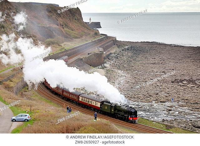 Steam train LMS Royal Scot Class 7P 4-6-0 46100 Royal Scot. Tanyard Bay, Parton, Whitehaven, Cumbria, England, United Kingdom, Europe