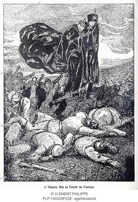 Sur le Champ de Carnage, WW1 caricature by illustrator Rata Langa showing German Prussian Crown Prince / Kronprinz Wilhelm von Preußen and Kaiser Wilhelm II...
