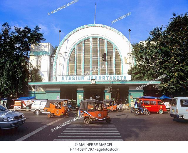 Indonesia, Jakarta city, Java island, town, Jakarta, bajai, Kota Jakarta railway station, Asia, traffic, station, rail