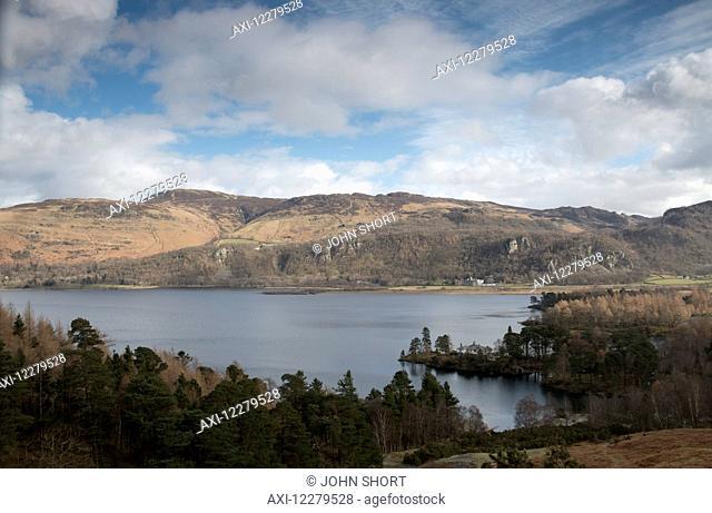 Landscape of lake and hills; Cumbria, England