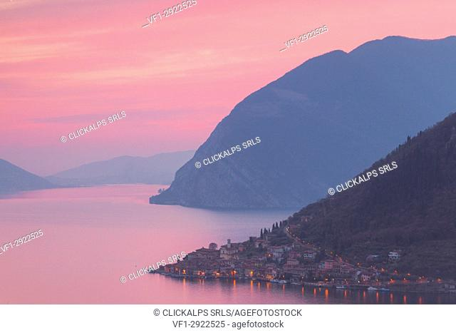Peschiera Maraglio in Iseo lake at sunset, Montisola, Iseo lake, Brescia province, Lombardy district, Italy