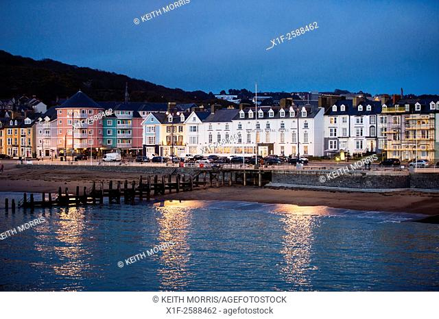 Seaside resort: The Belle Vue Hotel and promenade at Aberystwyth in the evening, Wales UK